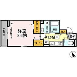 (仮)高松町3丁目レジデンスプロジェクト 1階1Kの間取り