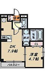 大阪府堺市堺区大町東2丁の賃貸マンションの間取り