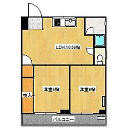 平尾山荘マンション[601号室]の間取り