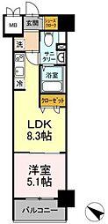 TEC Green Residence 4階1LDKの間取り