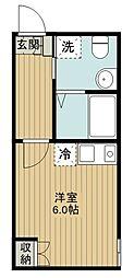 西武池袋線 西所沢駅 徒歩10分の賃貸アパート 2階1Kの間取り
