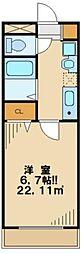 多摩都市モノレール 大塚・帝京大学駅 徒歩12分の賃貸マンション 1階1Kの間取り