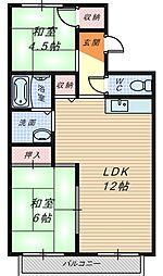 大阪府堺市中区八田西町2丁の賃貸アパートの間取り