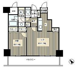 トレステージ目黒 10階1LDKの間取り