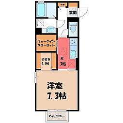 東武宇都宮線 新栃木駅 徒歩7分の賃貸アパート 1階1Kの間取り