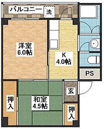 ユートピア原口 2棟[5階]の間取り