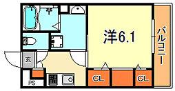 阪神本線 魚崎駅 徒歩5分の賃貸マンション 2階1Kの間取り