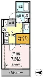JR横須賀線 新川崎駅 徒歩16分の賃貸アパート 3階1Kの間取り