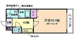 大阪府箕面市粟生間谷西3丁目の賃貸マンションの間取り