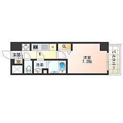 阪神なんば線 九条駅 徒歩4分の賃貸マンション 13階1Kの間取り