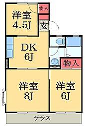 千葉県市原市東五所の賃貸アパートの間取り
