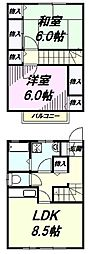 [テラスハウス] 東京都八王子市緑町 の賃貸【東京都 / 八王子市】の間取り