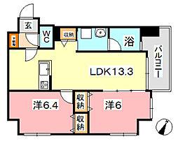 COCO川西町[8階]の間取り