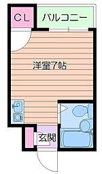 阪急千里線 千里山駅 徒歩12分の賃貸アパート 2階ワンルームの間取り