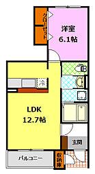 関東鉄道常総線 下妻駅 8.2kmの賃貸アパート 1階1LDKの間取り