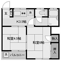パルコート登戸[2階]の間取り