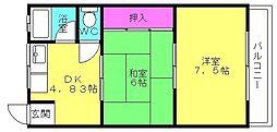 兵庫県高砂市阿弥陀1丁目の賃貸マンションの間取り