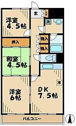 東京都八王子市越野の賃貸マンションの間取り