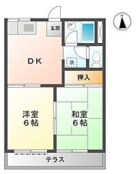 愛知県豊田市美里2丁目の賃貸アパートの間取り