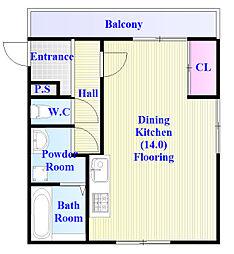 西板持III 1階ワンルームの間取り
