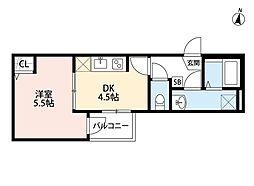 JR埼京線 与野本町駅 徒歩13分の賃貸アパート 1階1DKの間取り
