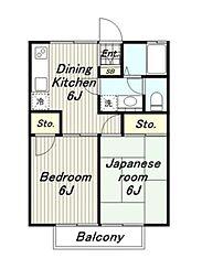 東京都多摩市連光寺3丁目の賃貸アパートの間取り