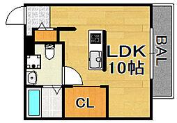 阪急千里線 柴島駅 徒歩1分の賃貸アパート 2階ワンルームの間取り