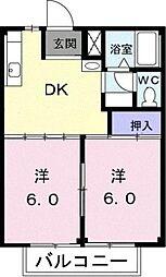 愛知県豊川市大崎町下金居場の賃貸アパートの間取り