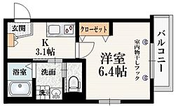 (仮称)矢来町メゾン 3階1Kの間取り