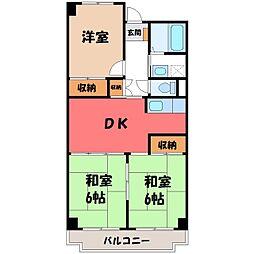 ビレッジハウス栃木日ノ出タワー 1号棟[2階]の間取り