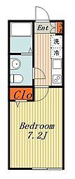 JR常磐線 柏駅 徒歩9分の賃貸アパート 1階1Kの間取り