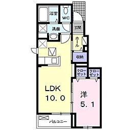 エレガント ハーモニー III番館 1階1LDKの間取り