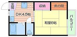 大阪府箕面市箕面7丁目の賃貸アパートの間取り