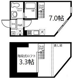 ハーミットクラブハウス南太田III 1階ワンルームの間取り