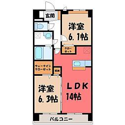 栃木県宇都宮市ゆいの杜3丁目の賃貸マンションの間取り