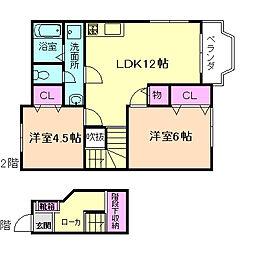 大阪府豊中市小曽根3丁目の賃貸アパートの間取り