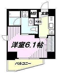 JR中央線 立川駅 徒歩10分の賃貸マンション 6階1Kの間取り
