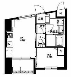 (仮称)平和島・斎藤マンション 2階1DKの間取り