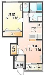 JR高崎線 吹上駅 徒歩15分の賃貸アパート 1階1LDKの間取り