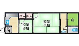 平田文化 2階2Kの間取り
