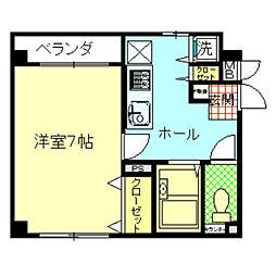 JR中央線 八王子駅 徒歩5分の賃貸マンション 4階1Kの間取り