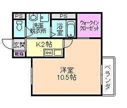 大阪府豊中市岡町の賃貸アパートの間取り