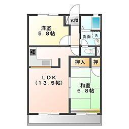 愛知県豊橋市柱五番町の賃貸アパートの間取り