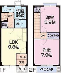 愛知県岡崎市上地2丁目の賃貸アパートの間取り