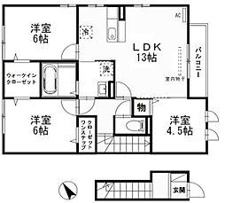 滋賀県栗東市高野の賃貸アパートの間取り