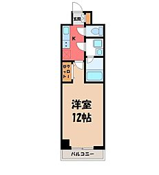 JR東北本線 宇都宮駅 徒歩5分の賃貸マンション 8階1Kの間取り