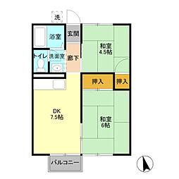 埼玉県八潮市緑町5丁目の賃貸アパートの間取り