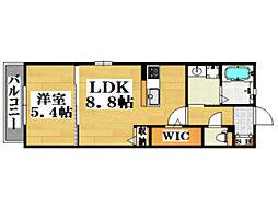 西鉄天神大牟田線 西鉄平尾駅 徒歩12分の賃貸アパート 2階1LDKの間取り