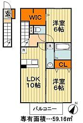 東武野田線 新鎌ヶ谷駅 徒歩37分の賃貸アパート 2階2LDKの間取り