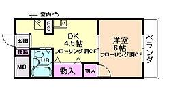 大阪府箕面市小野原東6丁目の賃貸マンションの間取り